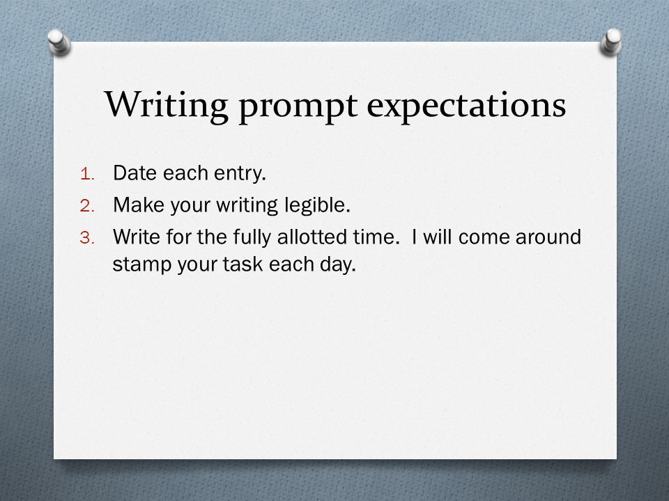 Writing prompt expectations 1. Date each entry. 2.