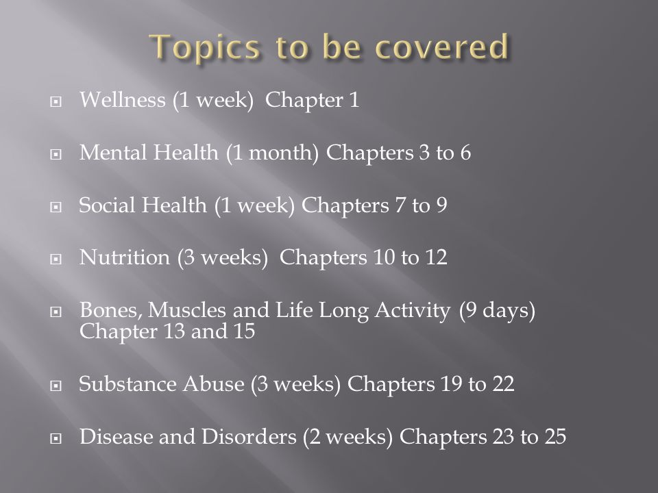  Wellness (1 week) Chapter 1  Mental Health (1 month) Chapters 3 to 6  Social Health (1 week) Chapters 7 to 9  Nutrition (3 weeks) Chapters 10 to 12  Bones, Muscles and Life Long Activity (9 days) Chapter 13 and 15  Substance Abuse (3 weeks) Chapters 19 to 22  Disease and Disorders (2 weeks) Chapters 23 to 25