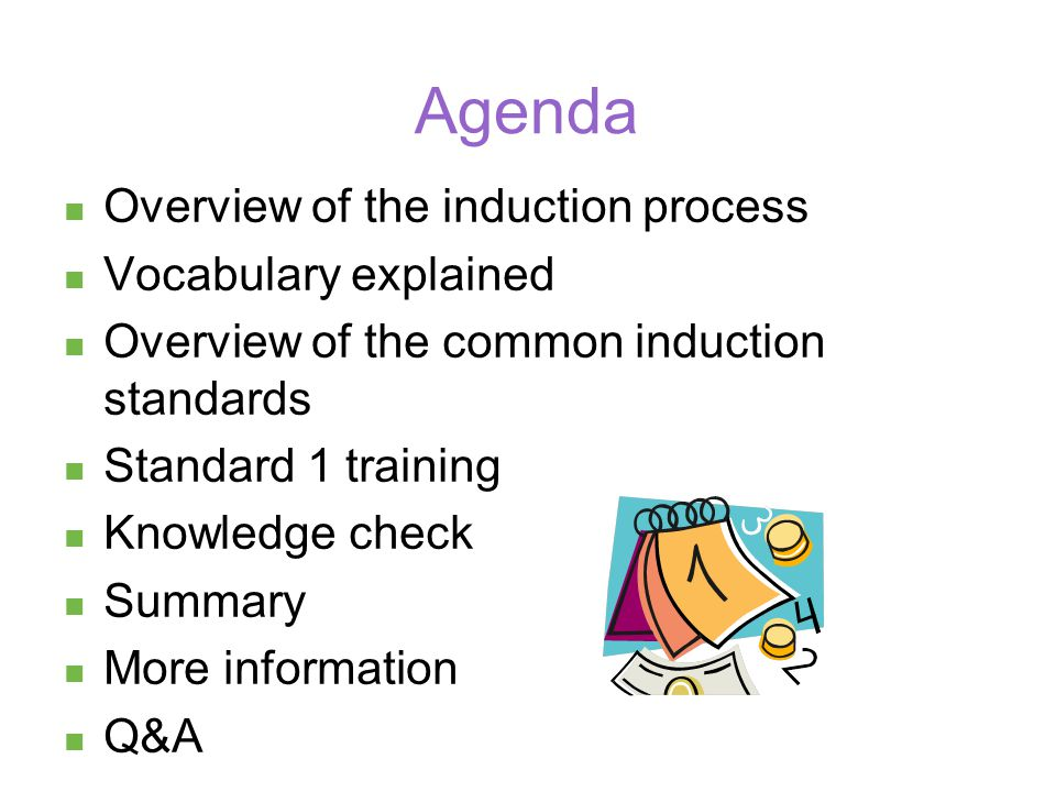 Overview of induction Company specific process steps Step 1 Step 2 Step 3 Step 4
