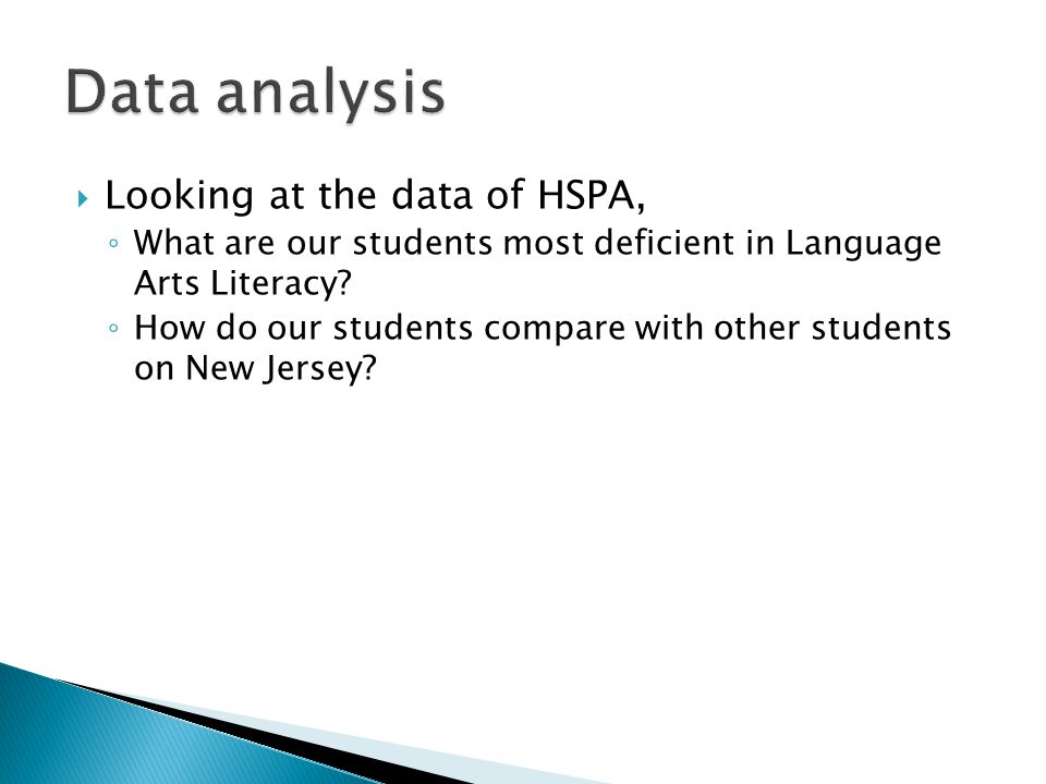  Looking at the data of HSPA, ◦ What are our students most deficient in Language Arts Literacy? ◦ How do our students compare with other students on