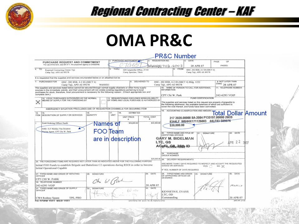 Regional Contracting Center – KAFRegional Contracting Center – KAF OMA PR&C