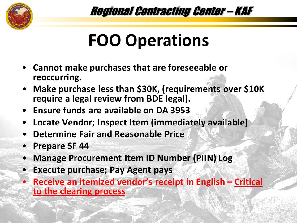 Regional Contracting Center – KAFRegional Contracting Center – KAF Cannot make purchases that are foreseeable or reoccurring.