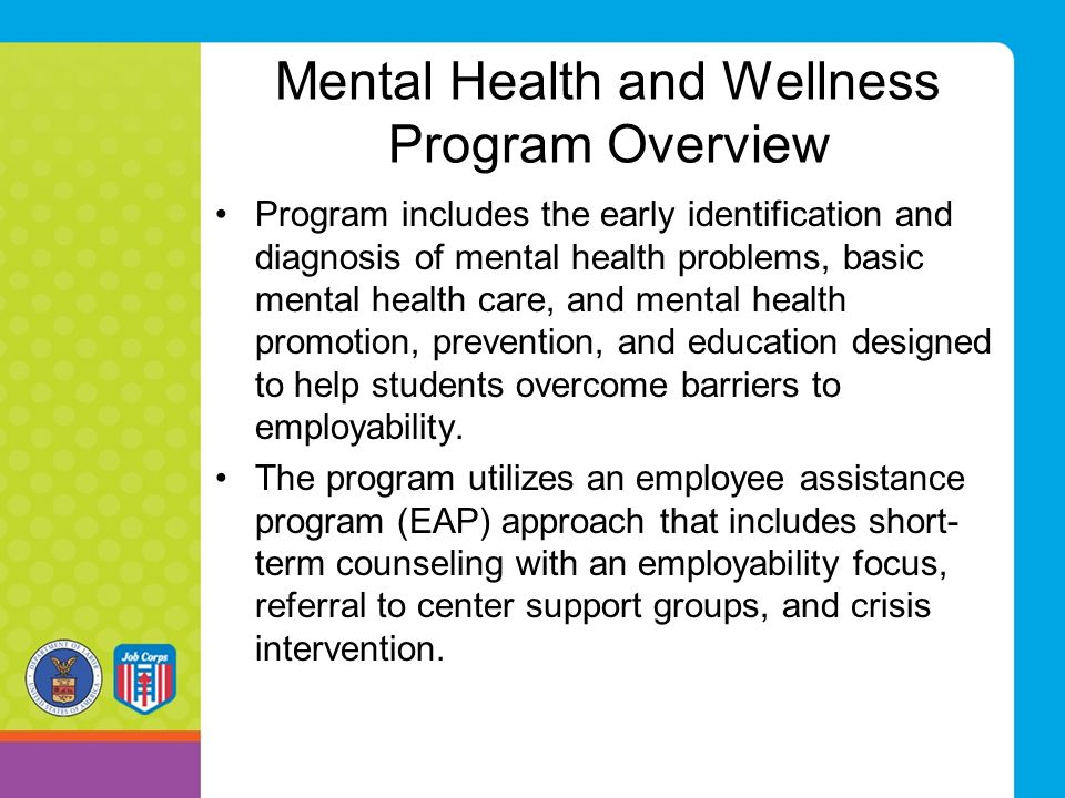 Mental Health and Wellness Program Overview Program includes the early identification and diagnosis of mental health problems, basic mental health car