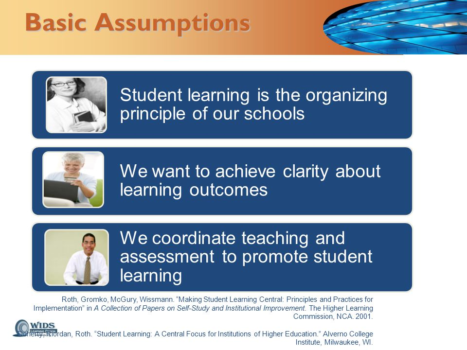 Basic Assumptions Student learning is the organizing principle of our schools We want to achieve clarity about learning outcomes We coordinate teaching and assessment to promote student learning Roth, Gromko, McGury, Wissmann.