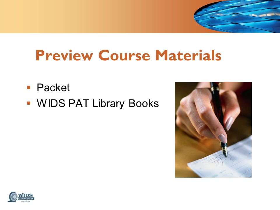 Preview Course Materials  Packet  WIDS PAT Library Books