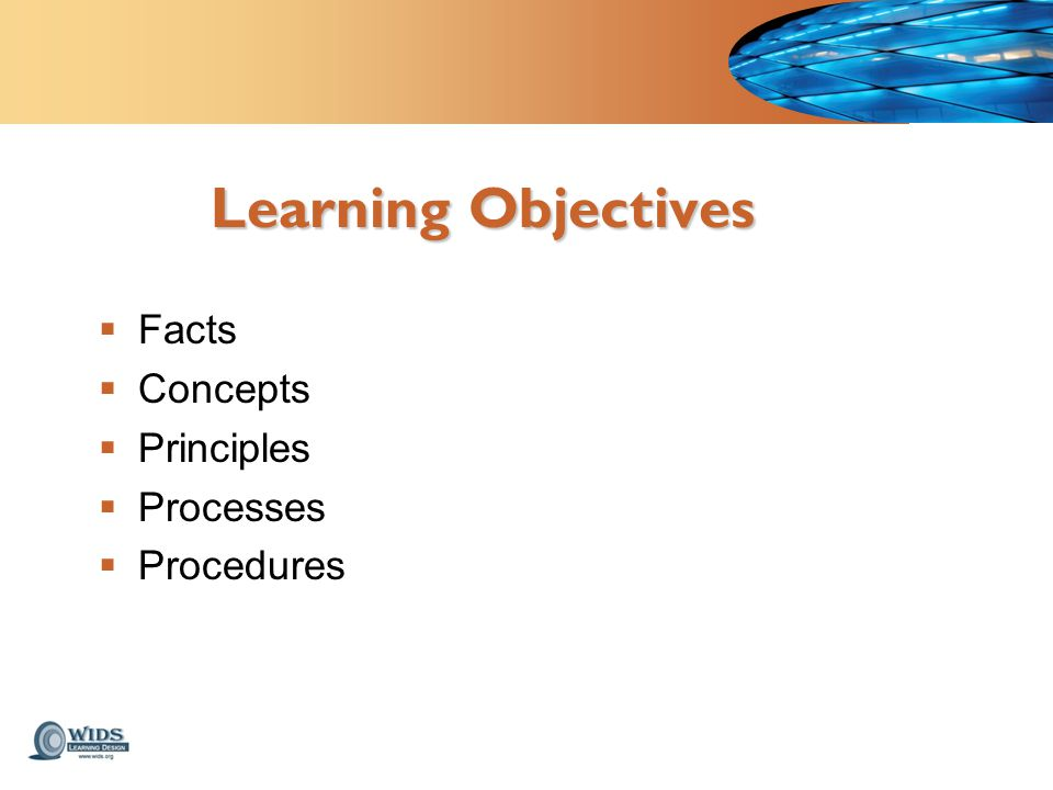 Learning Objectives  Facts  Concepts  Principles  Processes  Procedures