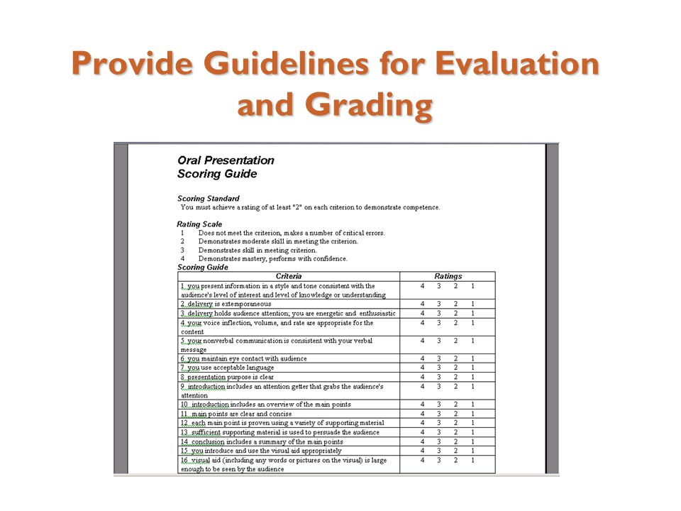 Provide Guidelines for Evaluation and Grading
