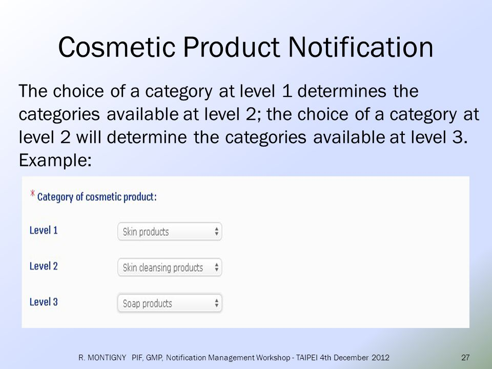There are 4 level-one defined categories: Skin products – Skin products ( with 10 level-two categories ) Hair and scalp products – Hair and scalp products ( with 4 level-two categories ) Nails and Cuticle products – Nails and Cuticle products ( with 4 level-two categories ) Oral hygiene products – Oral hygiene products (with 4 level-two categories ) R.