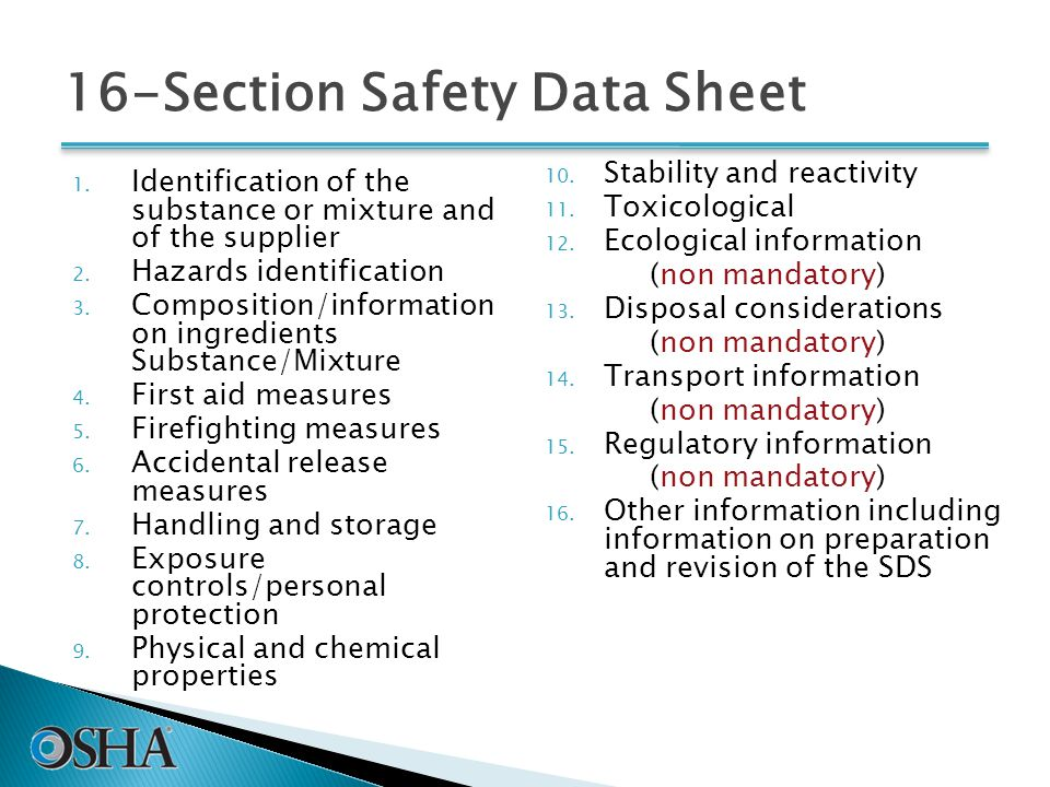 16-Section Safety Data Sheet 1. Identification of the substance or mixture and of the supplier 2.