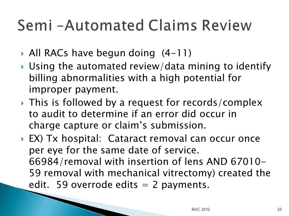  All RACs have begun doing (4-11)  Using the automated review/data mining to identify billing abnormalities with a high potential for improper payment.