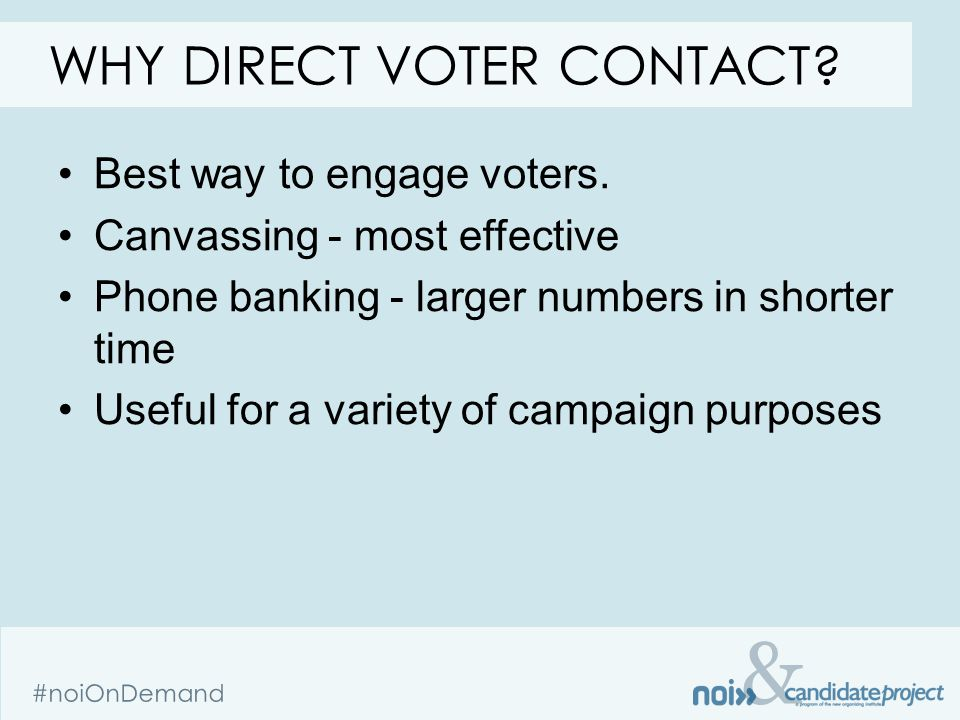 & #noiOnDemand Best way to engage voters.