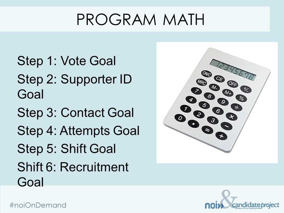 & #noiOnDemand Step 1: Vote Goal Step 2: Supporter ID Goal Step 3: Contact Goal Step 4: Attempts Goal Step 5: Shift Goal Shift 6: Recruitment Goal PROGRAM MATH