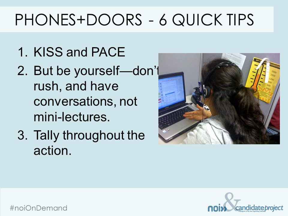& #noiOnDemand 1.KISS and PACE 2.But be yourself—don't rush, and have conversations, not mini-lectures.