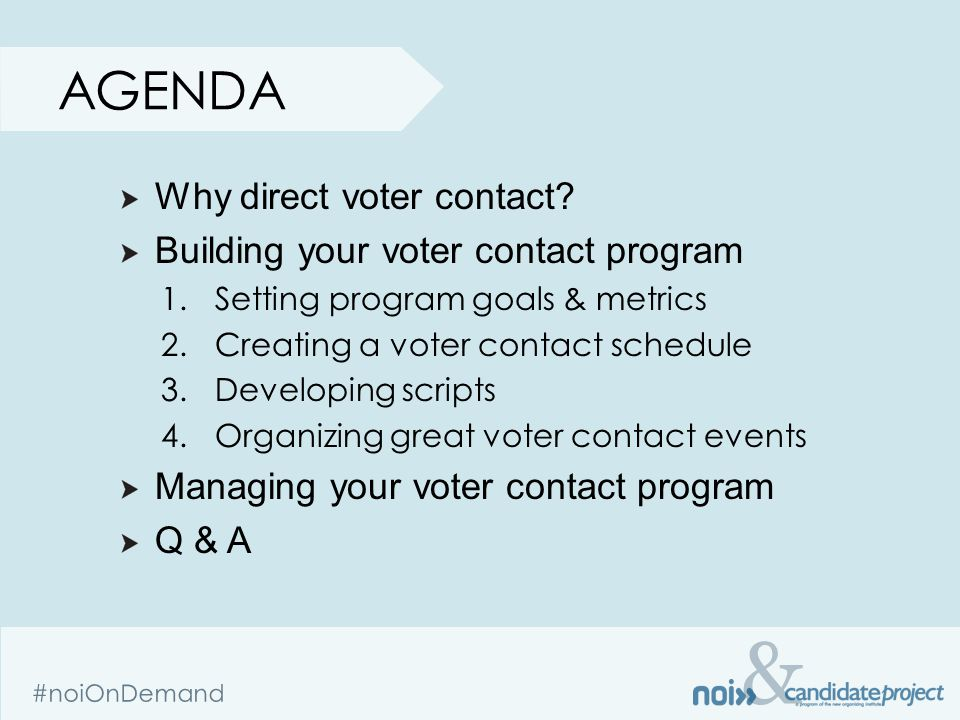 & #noiOnDemand AGENDA Why direct voter contact.