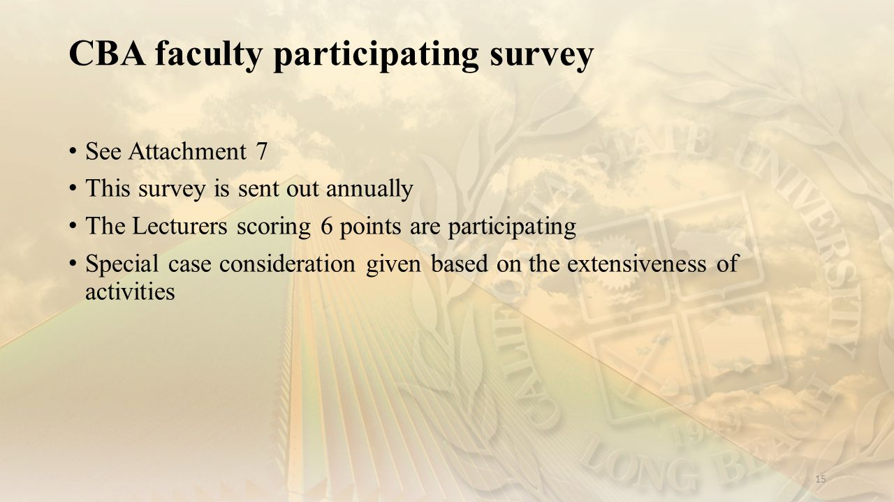 CBA faculty participating survey 15 See Attachment 7 This survey is sent out annually The Lecturers scoring 6 points are participating Special case consideration given based on the extensiveness of activities