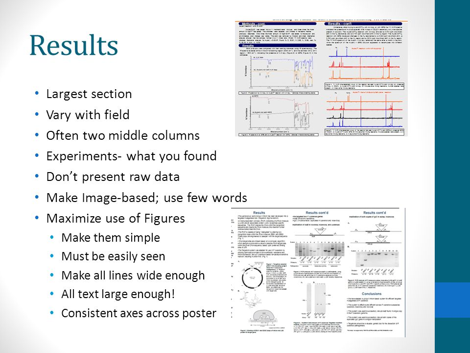 Results Cont: Minimize use of tables Difficult to grasp quickly Use figure legends/captions as text Put text near figure it's describing ~1 paragraph per image/image group