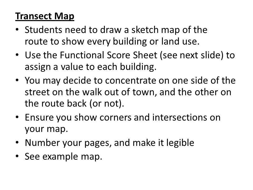 Transect Map Students need to draw a sketch map of the route to show every building or land use. Use the Functional Score Sheet (see next slide) to as
