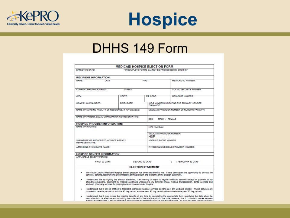 Hospice DHHS 149 Form