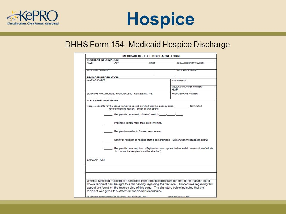 Hospice DHHS Form 154- Medicaid Hospice Discharge