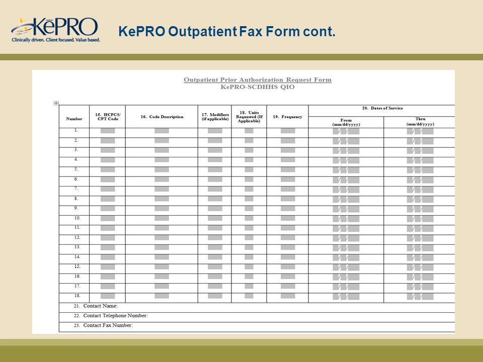 KePRO Outpatient Fax Form cont.