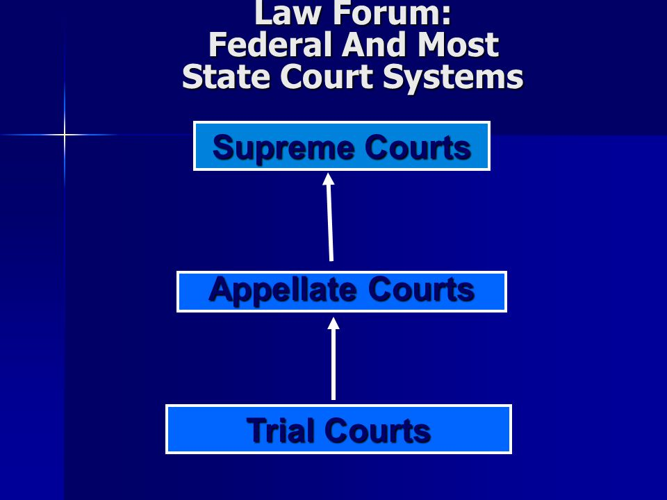 Law Forum: Federal And Most State Court Systems Trial Courts Appellate Courts Supreme Courts