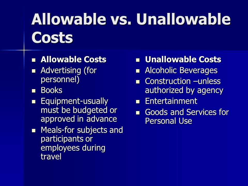 Allowable vs.
