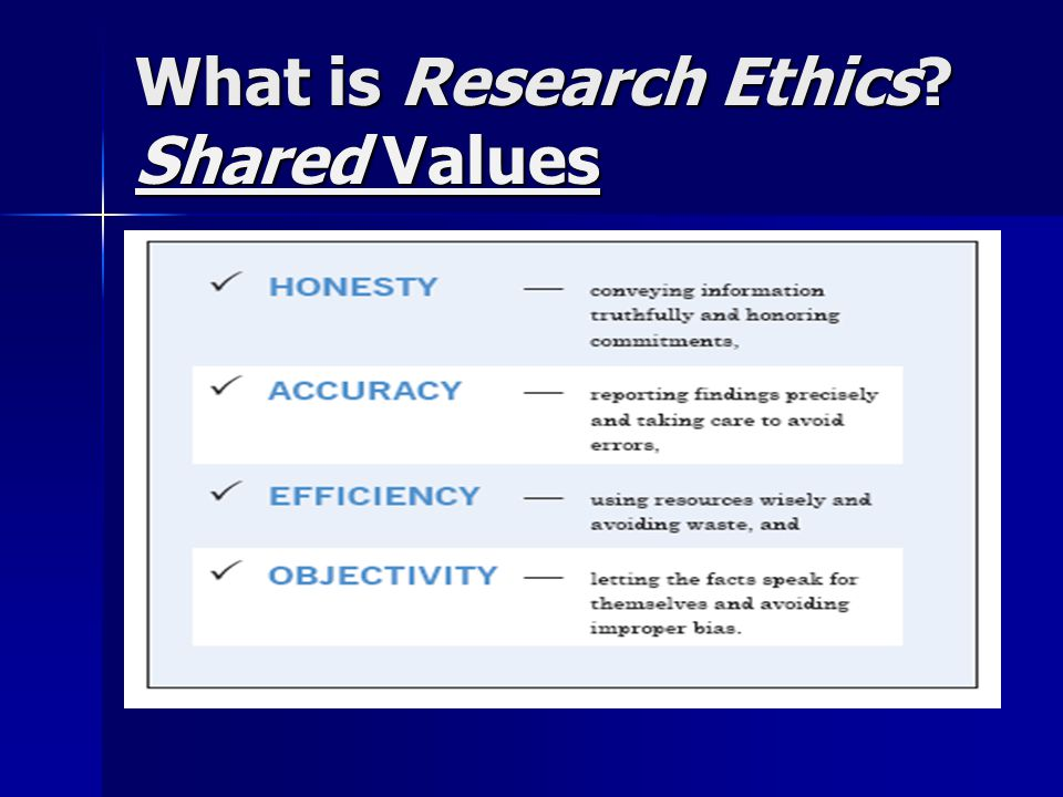 What is Research Ethics? Shared Values