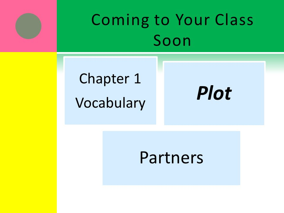 Coming to Your Class Soon Chapter 1 Vocabulary Plot Partners