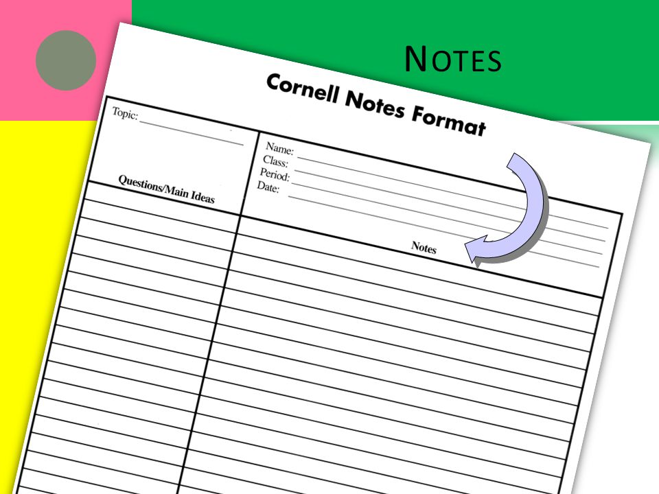 N OTES. Cornell Notes Format