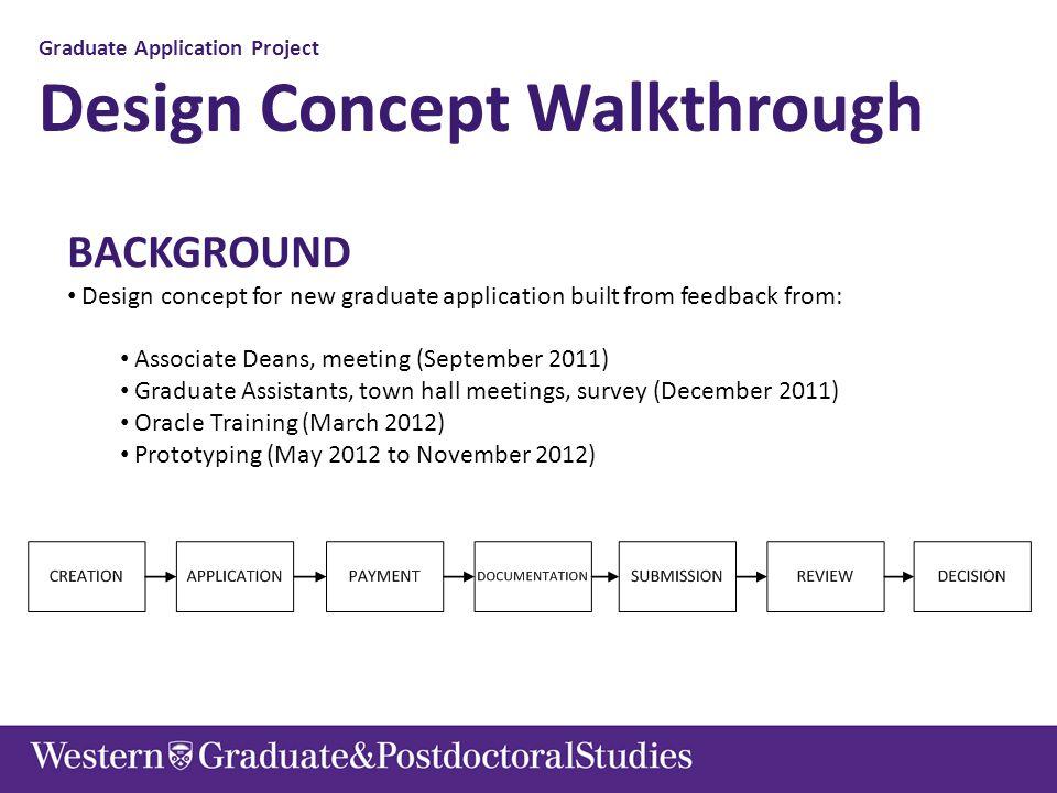 Graduate Application Project Design Concept Walkthrough BACKGROUND Design concept for new graduate application built from feedback from: Associate Dea