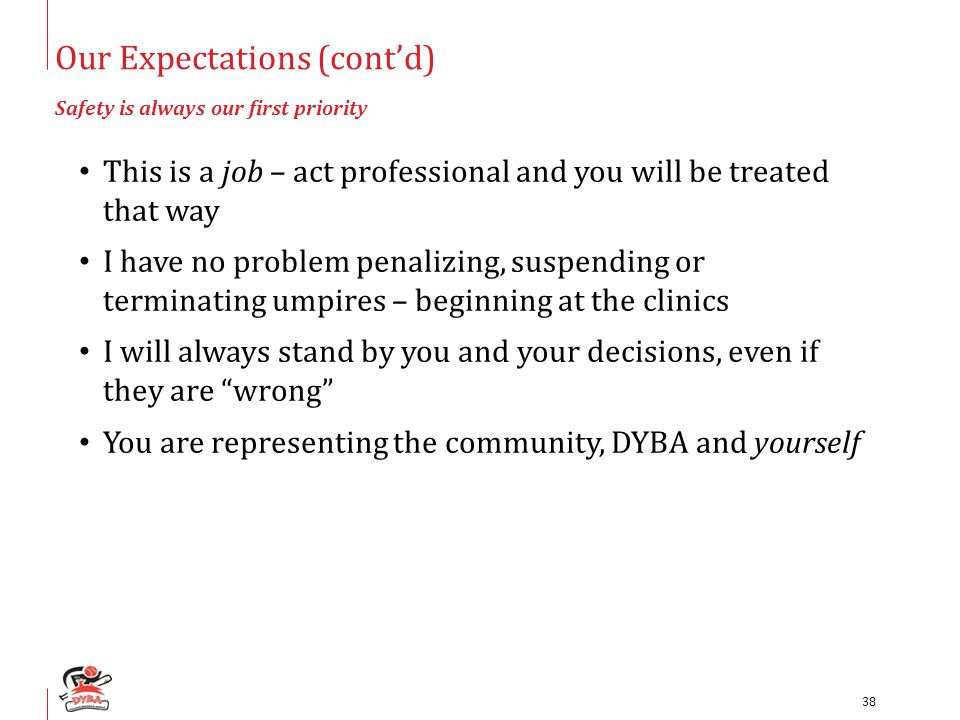 Our Expectations (cont'd) Safety is always our first priority This is a job – act professional and you will be treated that way I have no problem penalizing, suspending or terminating umpires – beginning at the clinics I will always stand by you and your decisions, even if they are wrong You are representing the community, DYBA and yourself 38