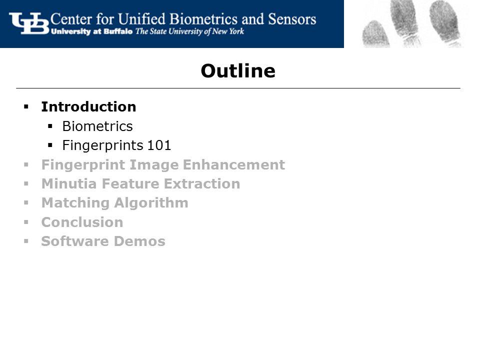 Outline  Introduction  Biometrics  Fingerprints 101  Fingerprint Image Enhancement  Minutia Feature Extraction  Matching Algorithm  Conclusion