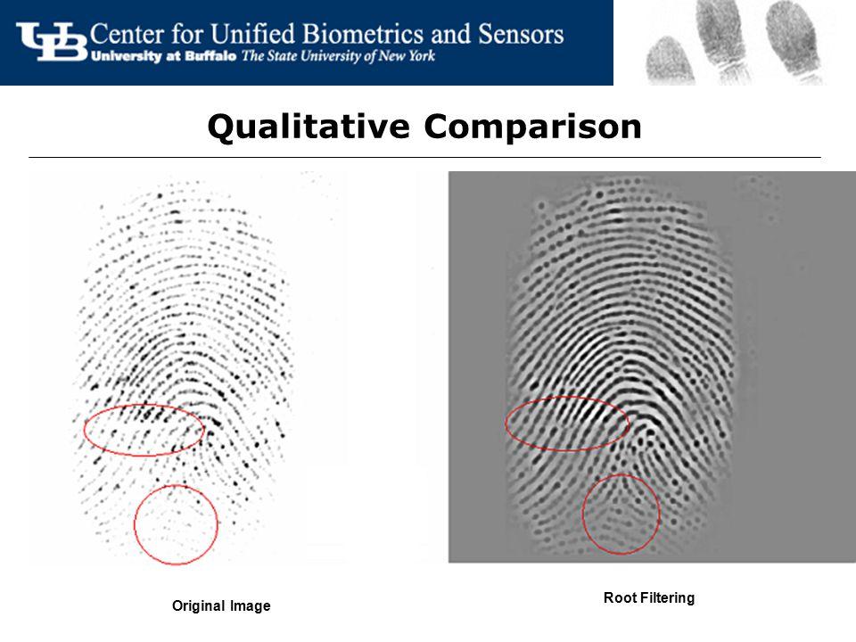 Qualitative Comparison Original Image Root Filtering