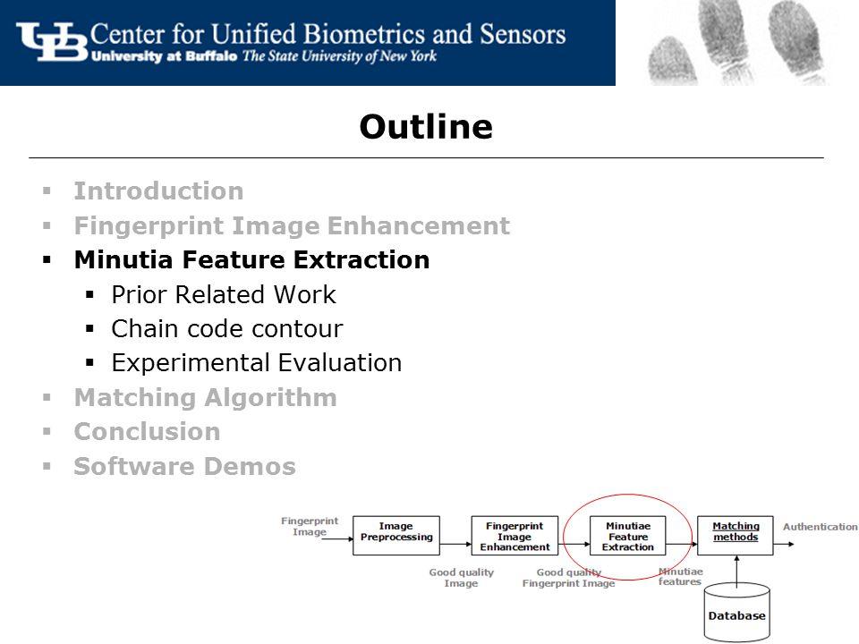 Outline  Introduction  Fingerprint Image Enhancement  Minutia Feature Extraction  Prior Related Work  Chain code contour  Experimental Evaluatio