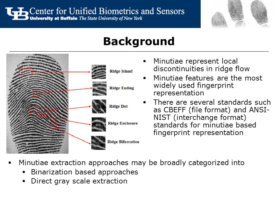 Background  Minutiae represent local discontinuities in ridge flow  Minutiae features are the most widely used fingerprint representation  There ar