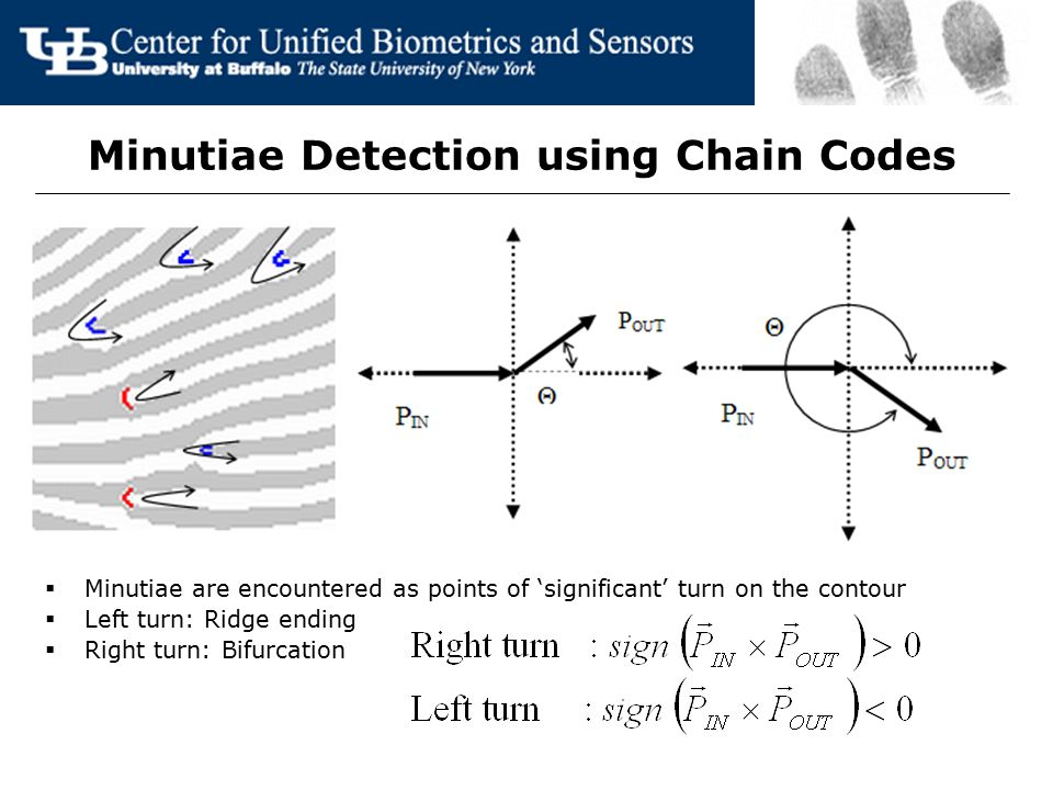 Minutiae Detection using Chain Codes  Minutiae are encountered as points of 'significant' turn on the contour  Left turn: Ridge ending  Right turn: