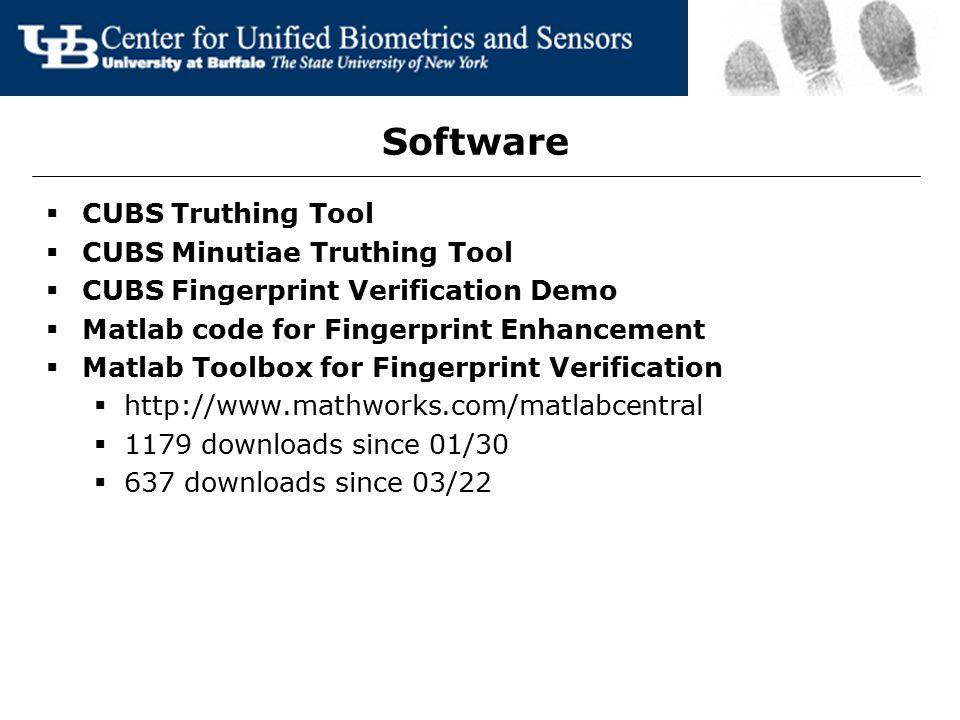 Software  CUBS Truthing Tool  CUBS Minutiae Truthing Tool  CUBS Fingerprint Verification Demo  Matlab code for Fingerprint Enhancement  Matlab To
