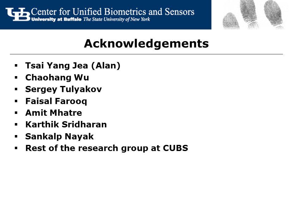 Acknowledgements  Tsai Yang Jea (Alan)  Chaohang Wu  Sergey Tulyakov  Faisal Farooq  Amit Mhatre  Karthik Sridharan  Sankalp Nayak  Rest of th