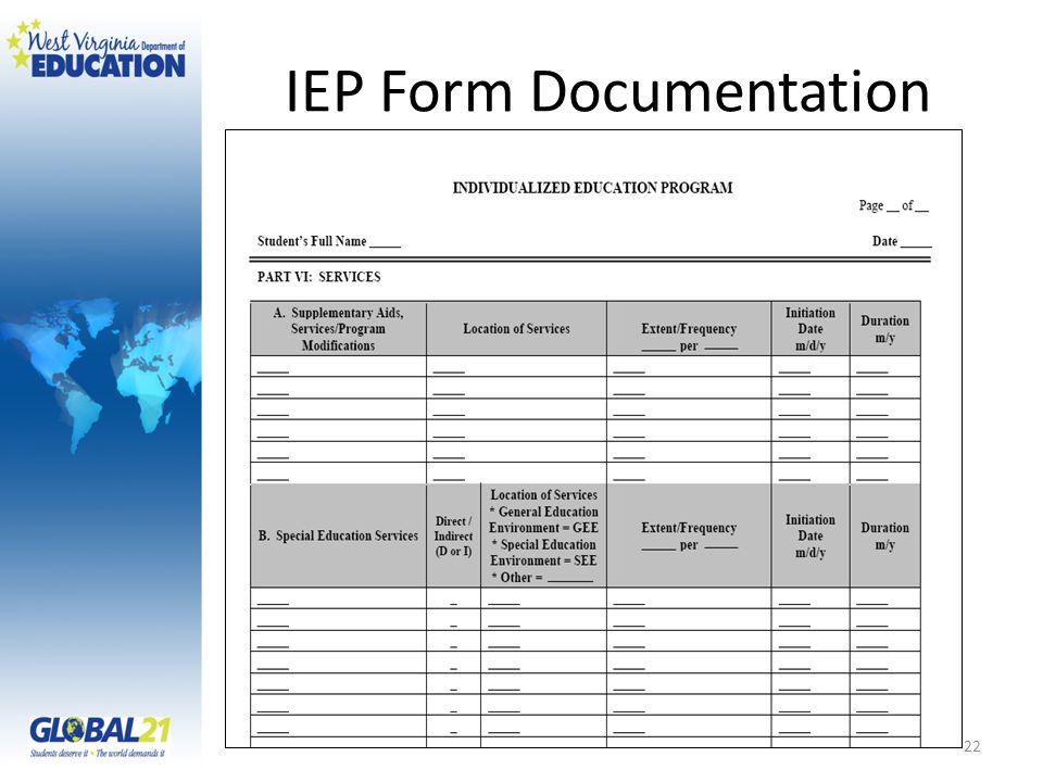 IEP Form Documentation 22