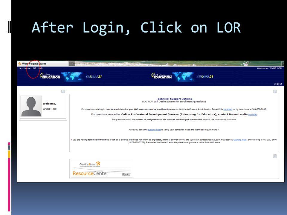 After Login, Click on LOR