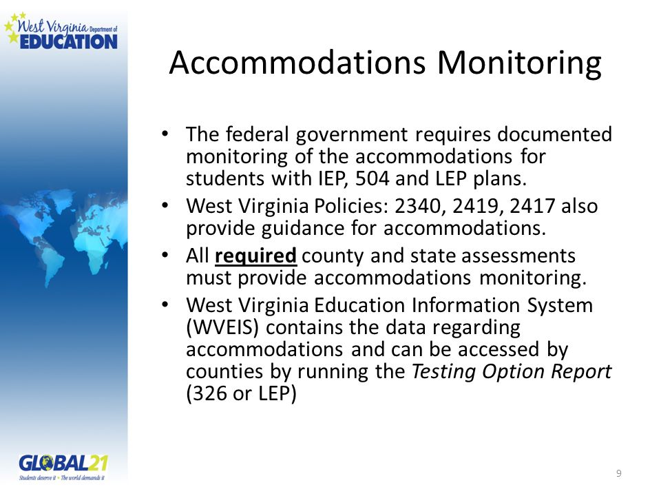 Accommodations Monitoring The federal government requires documented monitoring of the accommodations for students with IEP, 504 and LEP plans.