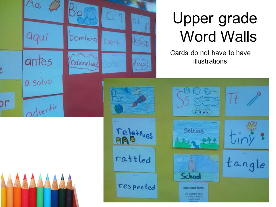 Upper grade Word Walls Cards do not have to have illustrations