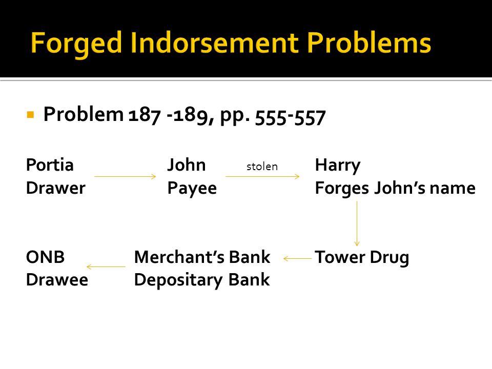  Problem 187 -189, pp. 555-557 PortiaJohnHarry DrawerPayeeForges John's name ONB Merchant's BankTower Drug Drawee Depositary Bank stolen