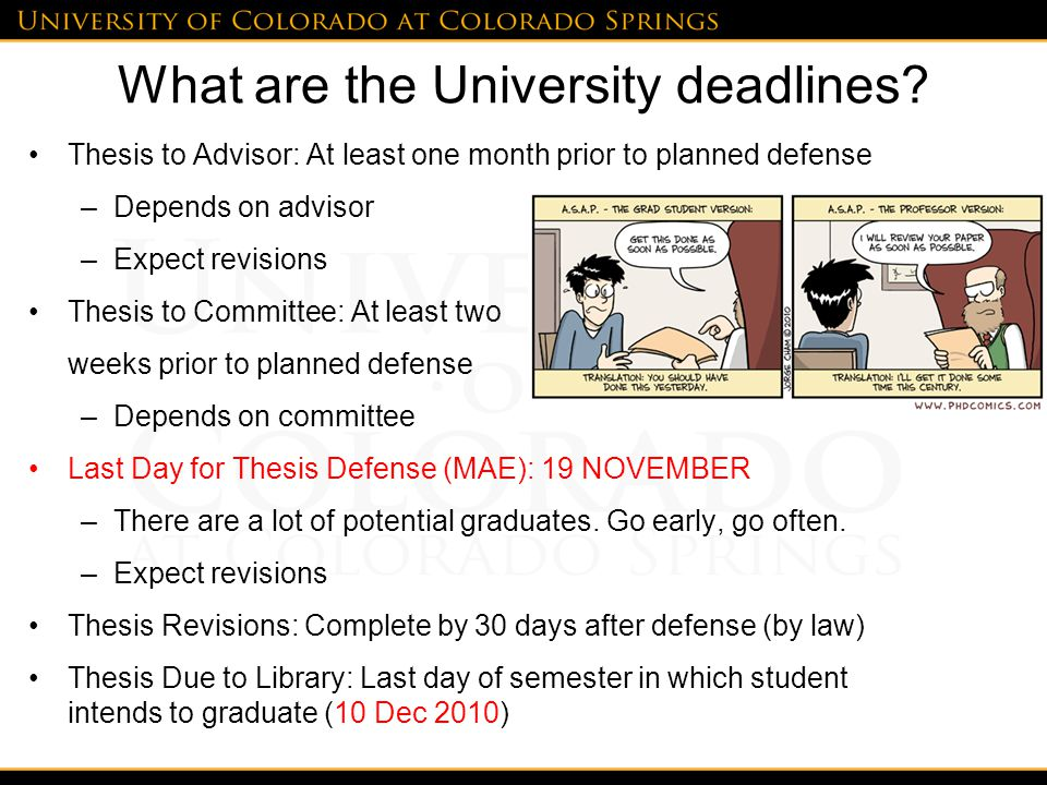 What are the University deadlines.