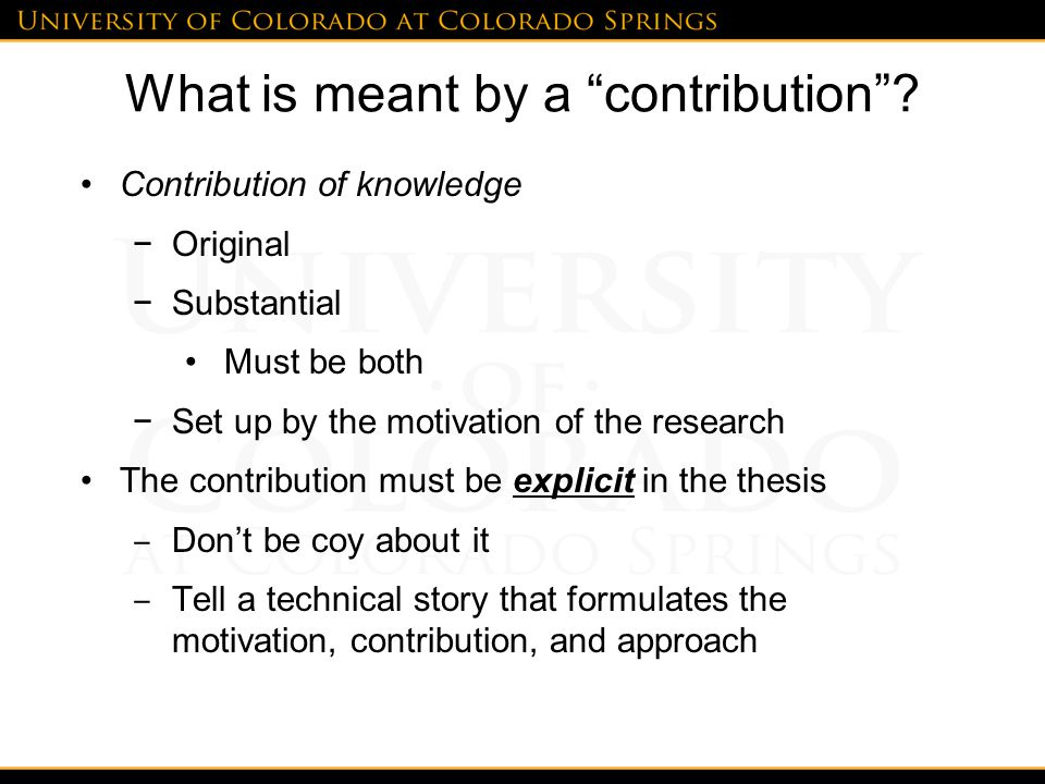 What is meant by a contribution .