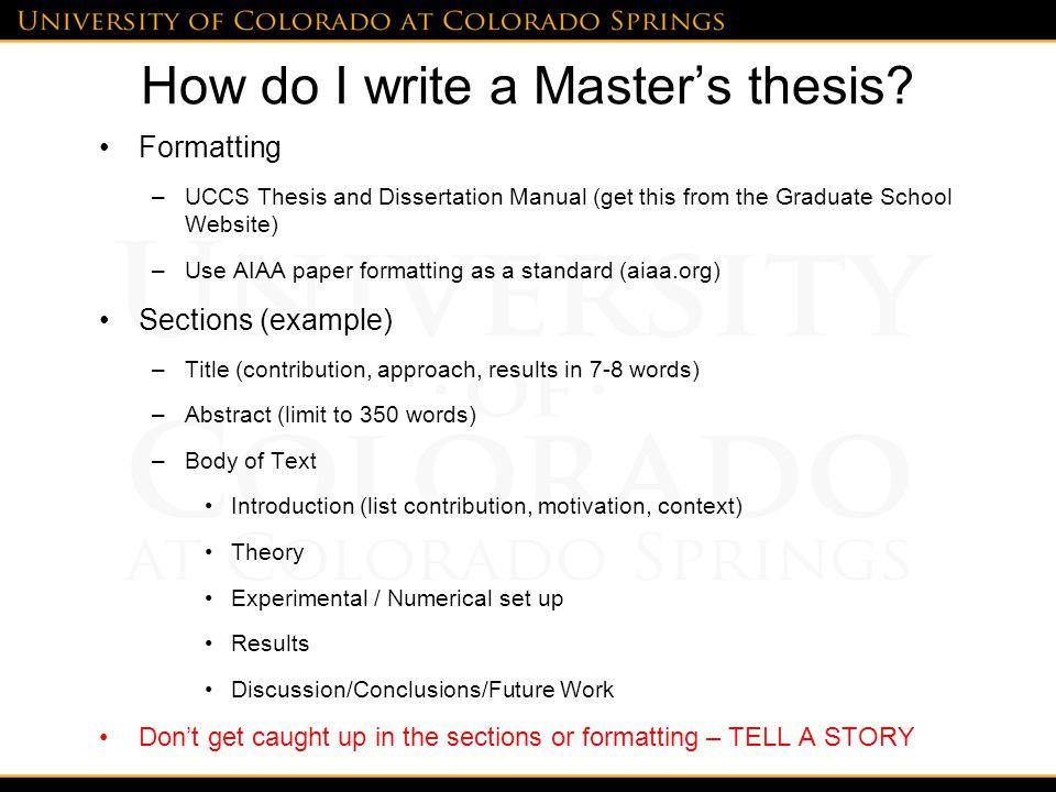 How do I write a Master's thesis.
