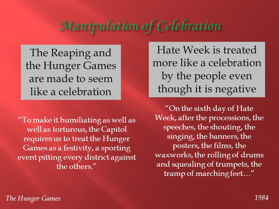 The Reaping and the Hunger Games are made to seem like a celebration Hate Week is treated more like a celebration by the people even though it is nega