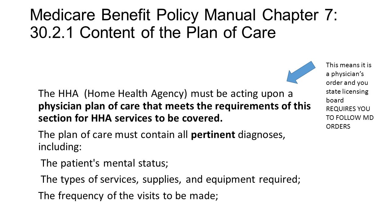 Medicare Benefit Policy Manual Chapter 7: 30.2.1 Content of the Plan of Care The HHA (Home Health Agency) must be acting upon a physician plan of care
