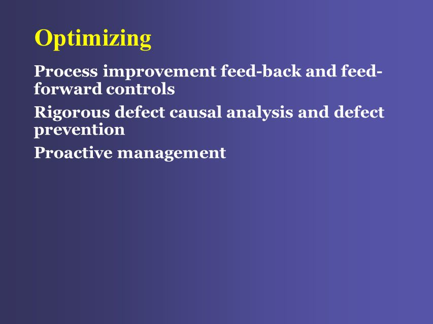 Optimizing Process improvement feed-back and feed- forward controls Rigorous defect causal analysis and defect prevention Proactive management