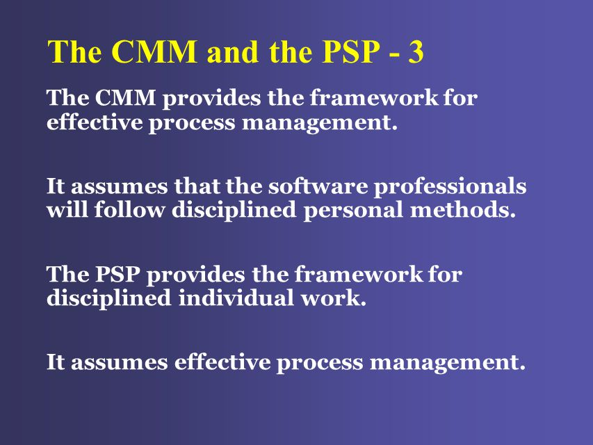 The CMM and the PSP - 3 The CMM provides the framework for effective process management.